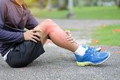 Young Fitness Man Holding His Sports Leg Injury, Muscle Painful During Training. Asian Runner Having poster