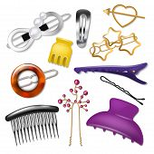 Hair Accessory Vector Hairpin Or Hair-slide And Hair-clip Ponytailer For Girlish Hairstyle Illustrat poster