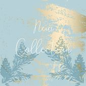 Chic Winter Pastel Gold Print Pine Braches Botany Design poster