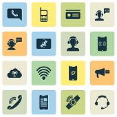 Connection Icons Set With Tablet Connection, Horn, Greeting Male Operator And Other Telephone Elemen poster