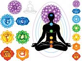 stock photo of chakra  - Silhouette of man with symbols of chakra - JPG