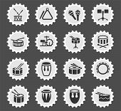 Rhythm Instruments Web Icons Stylized Postage Stamp For User Interface Design poster