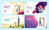 Set Of Web Page Design Templates For Family Planning, Travel Insurance, Nature And Healthy Life. Mod poster