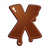Chocolate Melt Font Type Letter X Isolated On White poster