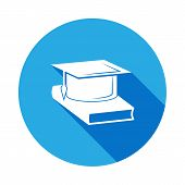 Book And Bachelor Hat Icon With Long Shadow. Vector Graduation Icon. Education, Academic Degree. Sig poster
