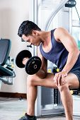 Young man doing dumbbell biceps curls at gym poster