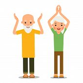 Old People Doing Exercises. Sport For Elderly Person. Elderly Man And Woman Doing Yoga Workout. Acti poster