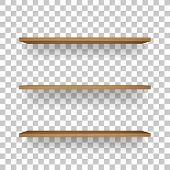 Wooden Shelf On Transparent Background With Soft Shadow. 3d Empty Wooden Shelves. Vector Illustratio poster