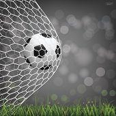 Soccer Football Ball In Soccer Goal With Light Blurred Bokeh Background. Vector. poster