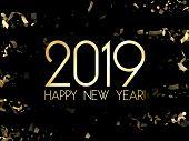 Trendy 2019 Happy New Year Card, Gold Confetti. Foil Texture Gold Glitter Confetti Sparkles Backdrop poster