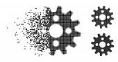 Cogwheel Icon In Disappearing, Pixelated Halftone And Undamaged Whole Versions. Elements Are Arrange poster