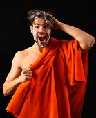 Water Is Over. Macho Attractive Nude Guy Black Background. Man Bearded Tousled Hair Covered With Foa poster