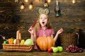 Elementary School Fall Festival Idea. Celebrate Harvest Festival. Kid Girl Fresh Vegetables Harvest  poster