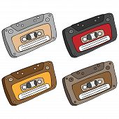 Set  Audio Cassette. Vector Illustration Old Audio Cassette. Hand Drawn Audio Cassette. poster