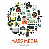 Flat Mass Media Round Concept With Reporter Radio Tower News Car Photo Video Cameras Microphones Tri poster