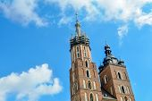 Towers Of The St. Marys Church Against The Background Of Blue Sky, Krakow, Poland. Two Towers Of St poster