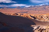 view from Valle de la Muerte (Death Valley) on the dune and Andes, Atacama desert, Chile