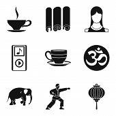 Spiritual Equilibrium Icons Set. Simple Set Of 9 Spiritual Equilibrium Icons For Web Isolated On Whi poster