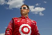 LOUDON, NH - JUNE 25:  Juan Pablo Montoya gets out of his car after qualifying for the LENOX Tools 3