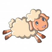 Running Sheep Icon. Cartoon Of Running Sheep Icon For Web Design Isolated On White Background poster