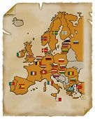 Old Map Of Europe. Parchment. poster