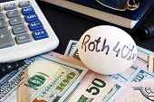 Roth 401k Written On A Side Of Egg And Money. poster