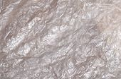 Texture Of White Crumpled Cellophane Surface Transparent On Sunlight. Concept Of Materials For Packa poster