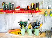 Wall With Tools. Board With Tools. Old Tools. poster