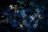 Selective Focus Of Pieces Puzzle Jigsaw, Puzzle Background. Jigsaw Puzzle Color Background. poster
