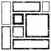 Set Of Vector Rectangles Frames For Image With Distress Texture . Grunge Black And White Borders Wit poster