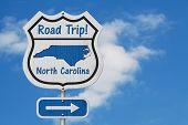 North Carolina Road Trip Highway Sign, North Carolina Map And Text Road Trip On A Highway Sign With  poster