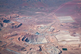 picture of open-pit mine  - aerial view of open - JPG