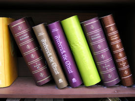 stock photo of annal  - Antique books on bookshelf - JPG