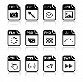 stock photo of png  - Web file types icons set  - JPG