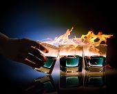 picture of absinthe  - Image of three glasses of burning emerald absinthe - JPG