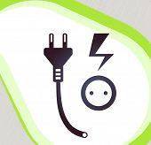 Plug And Socket. Retro-style Emblem, Icon, Pictogram. Eps 10 Vector