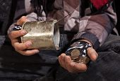image of beggar  - Poor beggar child counting coins  - JPG