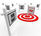 Many home for sale real estate signs and one reading Sold in a bulls-eye target to illustrate target