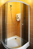 stock photo of shower-cubicle  - New beautiful shower cubicle in a modern bathroom - JPG