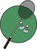 stock photo of game-cock  - badminton racket and shuttlecocks - JPG