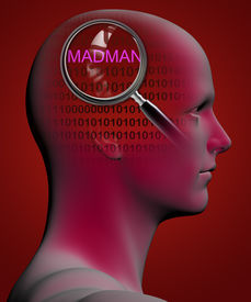 stock photo of madman  - profile of a man with close up of magnifying glass on MADMAN made in 3d software - JPG
