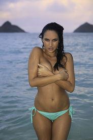 pic of monokini  - beautiful girl in bikini on the beach - JPG