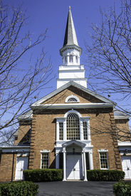 stock photo of stockade  - First Presbyterian Church the the stockade section of Schenectady New York - JPG