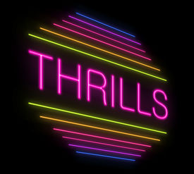 pic of titillation  - Illustration depicting an illuminated neon thrills sign - JPG