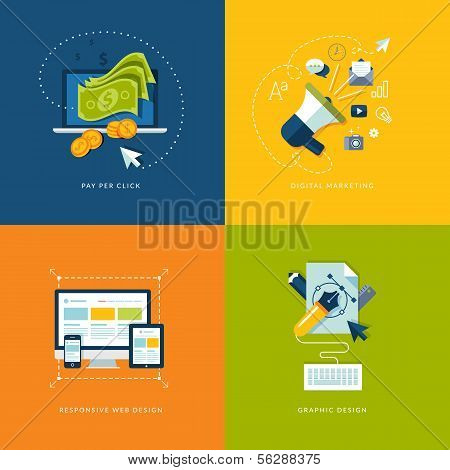 Set of flat design concept icons for web and mobile services and apps poster