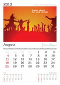 August 2013 A3 calendar - vector illustration