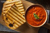 image of tomato sandwich  - Grilled Cheese Sandwich with Creamy Tomato Basil Soup - JPG