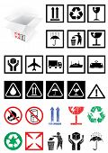 Vector illustration set of different packing symbols, e.g. fragile, recycle. All vector objects and