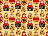 seamless pattern cute russian dolls