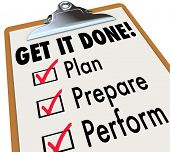 Get It Done Checklist Clipboard Steps Plan Prepare Perform